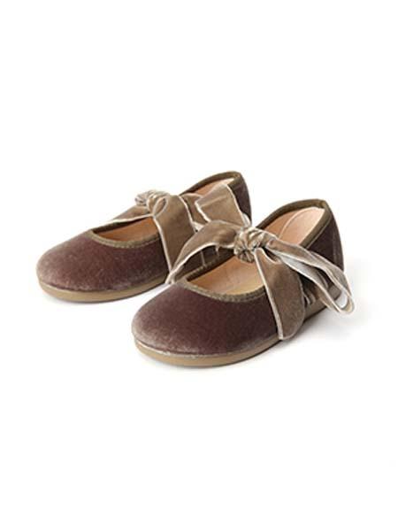 DONSJE童鞋品牌春夏蝴蝶结棕褐色皮鞋