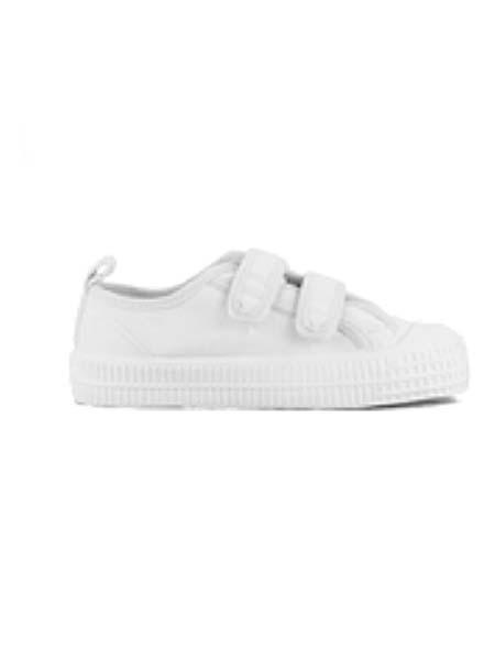 DONSJE童鞋品牌春夏小白鞋大童粘带纯色