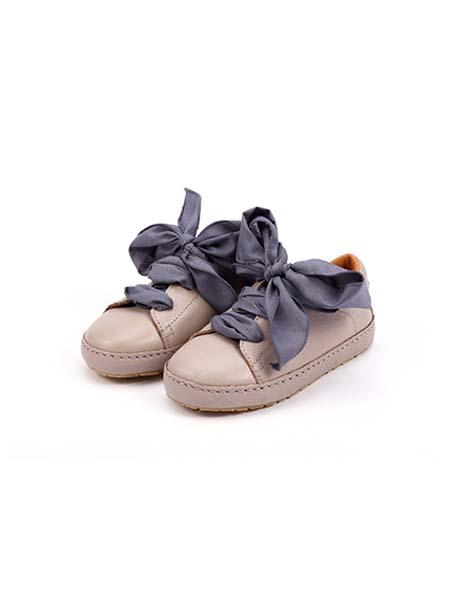 DONSJE童鞋品牌春夏紫蓝色蝴蝶结系带皮鞋