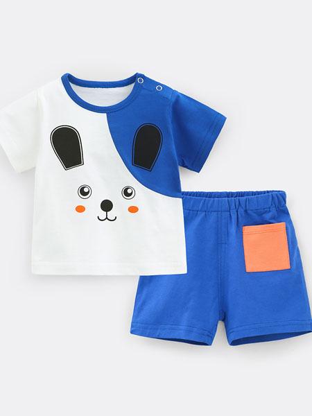 七贝乐童装品牌2020春夏童装男童夏装宝宝短袖套装网红婴儿衣服夏纯棉薄款儿童洋气