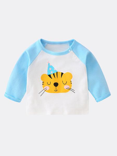 七贝乐童装品牌2020春夏宝宝t恤纯棉打底衫小童春秋洋气上衣男婴儿衣服卡通