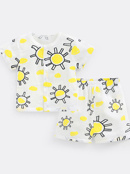 七贝乐童装品牌2020春夏男童女童短袖套装宝宝衣服儿童洋气时尚两件套薄款夏装