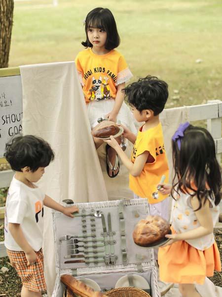 PEIQI KIDS童装品牌2020春夏黄色T恤男女童