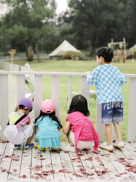 PEIQI KIDS童装品牌2020春夏格子蓝白T恤男童