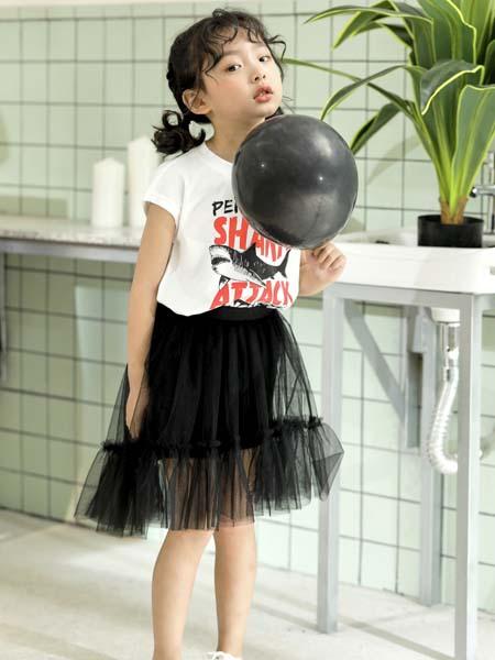 PEIQI KIDS童装品牌2020春夏白色T恤黑纱短裙