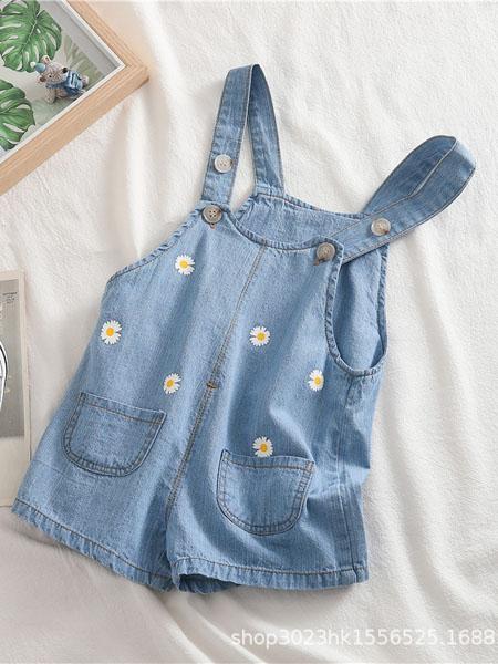 趣匠童装品牌2020春夏儿童女童背带短裤韩版0-4岁女宝小雏菊浅色牛仔背带短裤