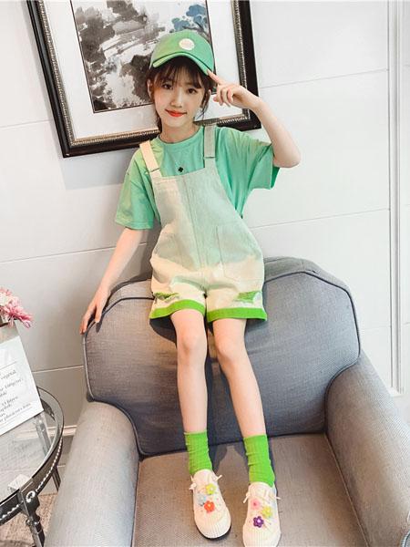 滑板猫童装品牌2020春夏新品儿童短袖t恤夏装洋气大童纯棉两件套