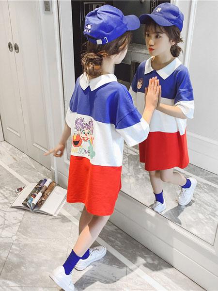 滑板猫童装品牌2020春夏新款儿童拼色上衣洋气体恤中大童夏装