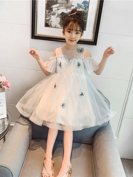 滑板猫童装品牌2020春夏新款洋气儿童超仙气公主裙夏装中大童蓬蓬纱裙