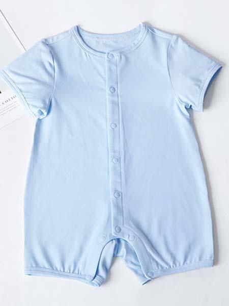 暖康小黑桔童装品牌2020春夏浅蓝色连体衣宝宝