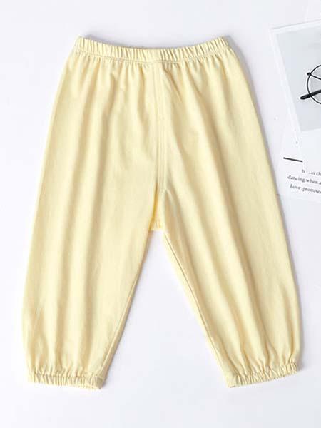 暖康小黑桔童装品牌2020春夏黄色裤子
