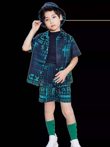 欧卡星童装品牌2020春夏字母绿色时尚衬衫短裤