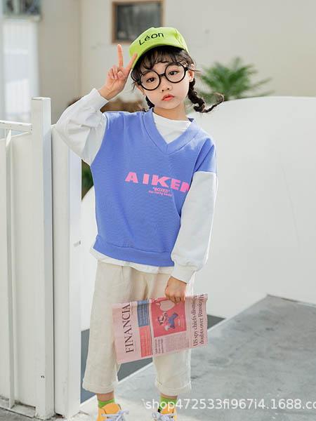 阿宝呗呗童装品牌2020春夏新款童装女童卫衣套头圆加V领灯笼袖假两件绿粉色卫衣上衣