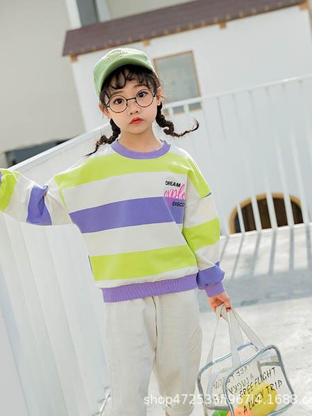 阿宝呗呗童装品牌2020春夏新款童装女童卫衣套头圆领白色粉色灯笼袖卫衣上衣