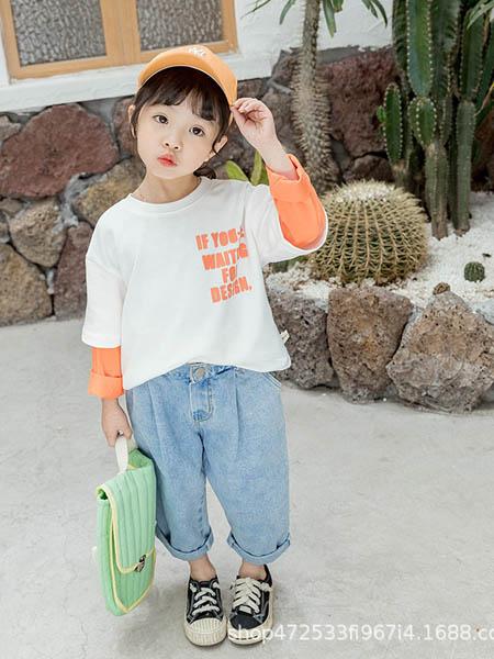 阿宝呗呗童装品牌2020春夏女童新款韩版儿童拼色卫衣套头圆领假两件小童洋气上衣