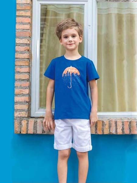 快乐精灵童装品牌2020春夏深蓝色雨伞T恤