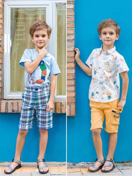 快乐精灵童装品牌2020春夏格纹短裤机器图案T恤