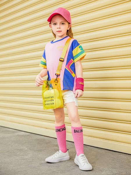 杰米熊童装品牌2020春夏粉色T恤时尚撞色