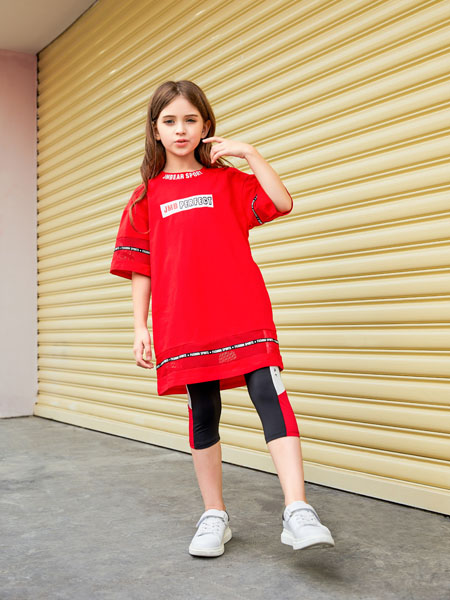 杰米熊童装品牌2020春夏中长款红色T恤