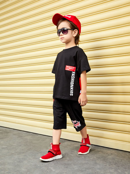 杰米熊童装品牌2020春夏黑色休闲T恤短裤