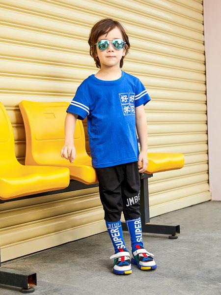 杰米熊童装品牌2020春夏深蓝色T恤