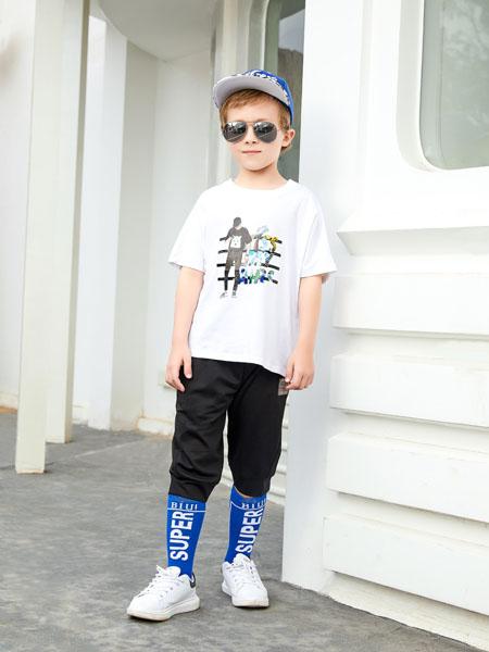杰米熊童装品牌2020春夏白色T恤人像
