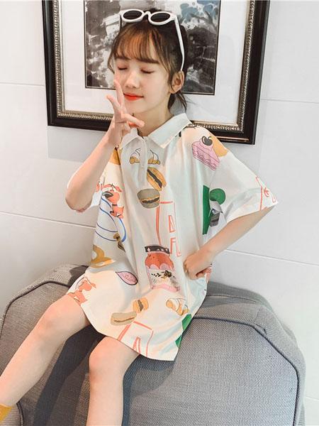 深语童装品牌2020春夏女童短袖t恤洋气新款韩版潮大儿童中长款夏装宽松上衣