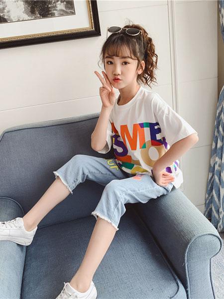 深语童装品牌2020春夏女童夏装套装网红新款洋气儿童装夏季休闲短袖运动两件套