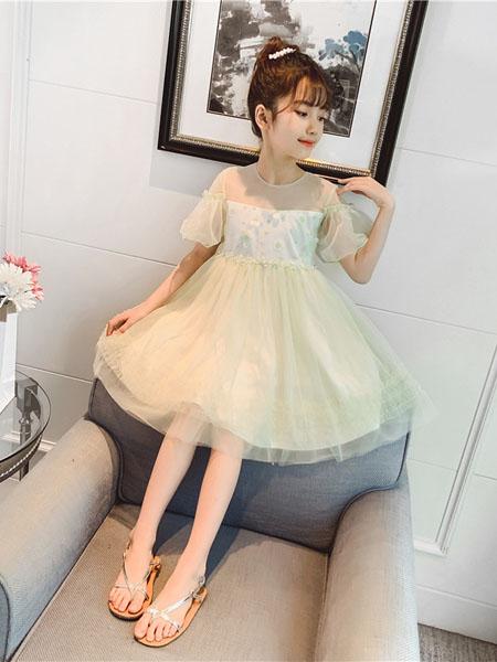 深语童装品牌2020春夏女童仙气连衣裙新款春装超仙中大童小女孩公主裙洋气潮流纱裙