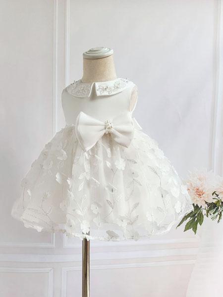 安祺童装品牌2020春夏新款婴儿满月周岁礼服童裙 韩版蕾丝甜美儿童连衣裙