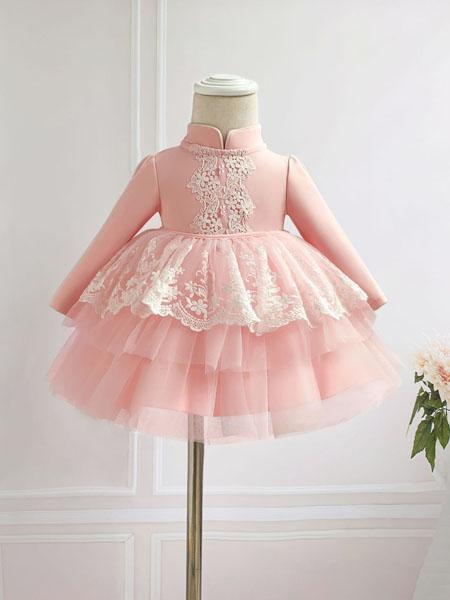 安祺童装品牌2020春夏新款女宝宝公主套装 粉色宝宝百日周岁公主礼服0-2岁