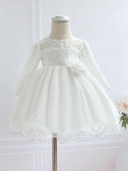 安祺童装品牌2020春夏新款婴儿满月周岁礼服童裙 女宝宝百日礼服蕾丝连衣裙