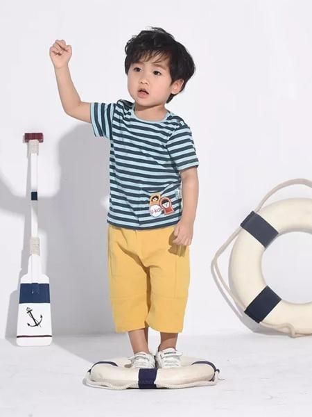 优子壹家品牌童装童装品牌2020春夏深蓝色条纹T恤