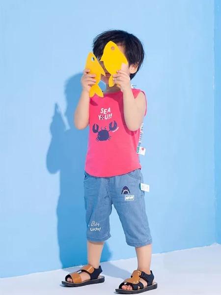 优子壹家品牌童装童装品牌2020春夏粉紫色背心男童