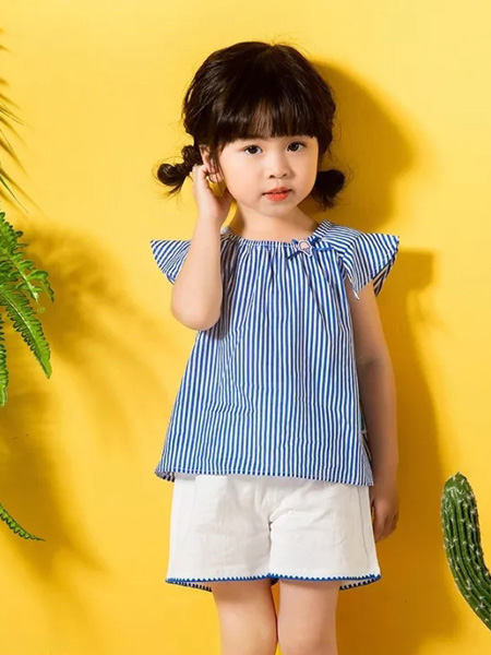 优子壹家品牌童装童装品牌2020春夏竖纹藏蓝色白色T恤