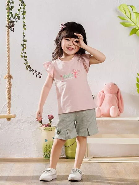 优子壹家品牌童装童装品牌2020春夏圆领浅粉色T恤