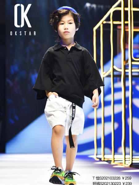 欧卡星童装品牌2020春夏黑色衬衫翻领白色短裤