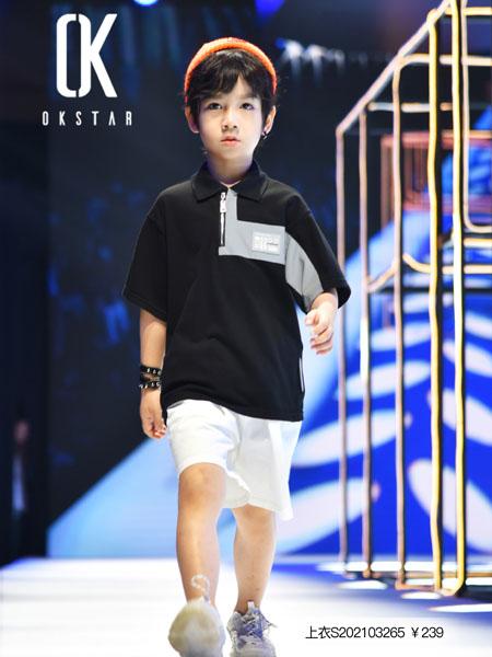 欧卡星童装品牌2020春夏圆领翻领黑色T恤