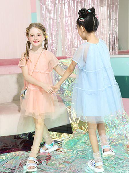 卡儿菲特童装品牌2020春夏粉色网纱连衣裙