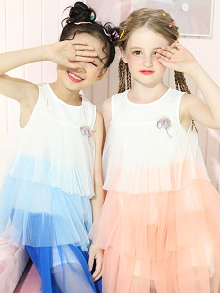 卡儿菲特童装品牌2020春夏圆领白色无袖蓝色纱网连衣裙