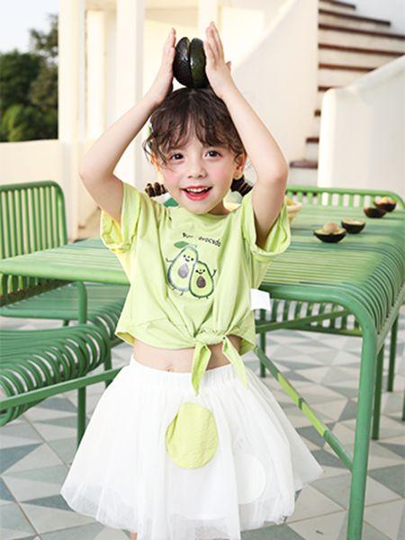 卡儿菲特童装品牌2020春夏圆领绿色T恤