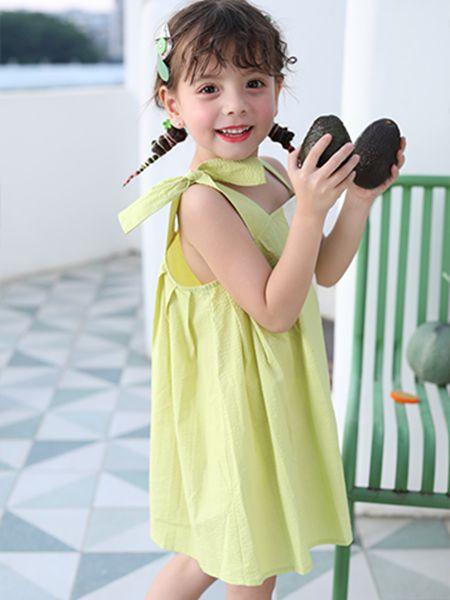 卡儿菲特童装品牌2020春夏吊带绿色连衣裙