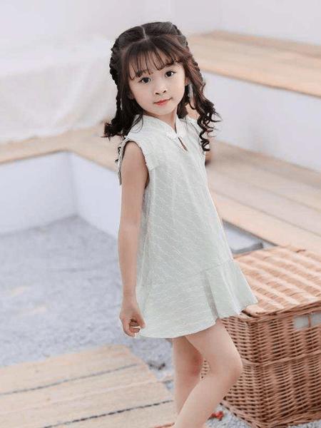 桃小兜童装品牌2020春夏新款女童棉麻中国风洋气无袖小童A字版连衣裙