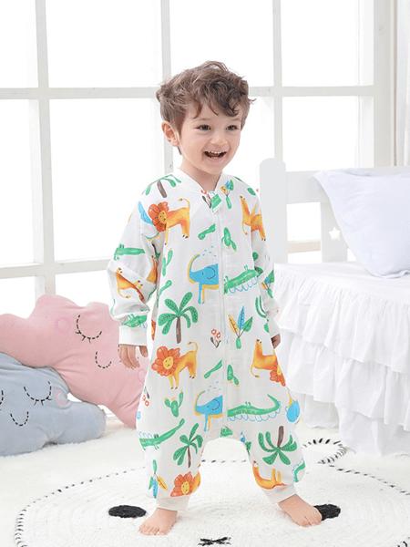 桃小兜童装品牌2020春夏新款婴儿纱布睡袋前四层后二层爆款纯棉薄款印花脱袖分腿睡袋