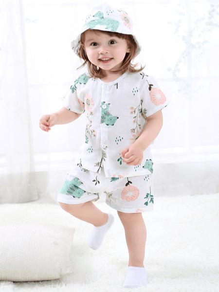 桃小兜童装品牌2020春夏新款儿童纱布薄款短袖套装婴幼儿纯棉短裤印花卡通空调服
