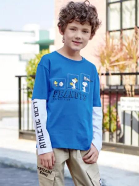 史努比/凯蒂猫/小叮当/迪士尼童装品牌2020春夏圆领蓝色T恤