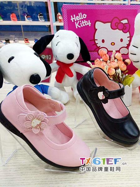 史努比/凯蒂猫/小叮当/迪士尼童鞋品牌小皮鞋粉色黑色