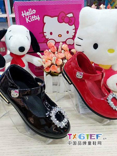 史努比/凯蒂猫/小叮当/迪士尼童鞋品牌水钻皮鞋