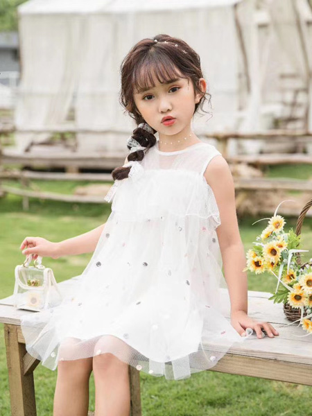 麦歌童装品牌2020春夏纯白色网纱连衣裙