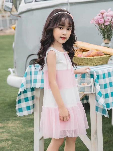 麦歌童装品牌2020春夏粉色网纱白色连衣裙